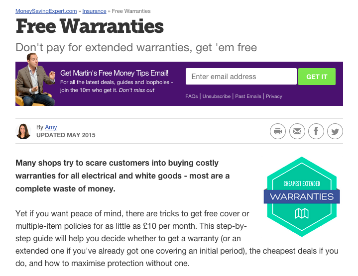 appliance warranties and guarantees